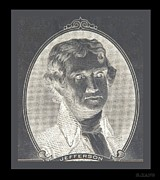 Patriots Prints - THOMAS JEFFERSON in NEGATIVE  Print by Rob Hans