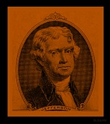 4th July Digital Art Posters - THOMAS JEFFERSON in ORANGE Poster by Rob Hans