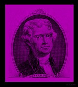 4th July Digital Art Posters - THOMAS JEFFERSON in PURPLE Poster by Rob Hans