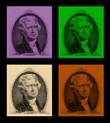 4th July Digital Art Posters - THOMAS JEFFERSON in QUAD COLORS Poster by Rob Hans