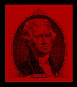 Thomas Jefferson Prints - THOMAS JEFFERSON in RED Print by Rob Hans