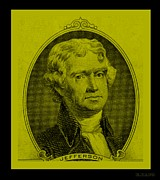 4th July Digital Art Posters - THOMAS JEFFERSON in YELLOW Poster by Rob Hans