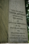 Thomas Jefferson Posters - Thomas Jefferson tombstone close up Poster by LeeAnn McLaneGoetz McLaneGoetzStudioLLCcom
