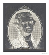 Thomas Jefferson Posters - THOMAS JFFERSON in WHITE BORDER NEGATIVE Poster by Rob Hans