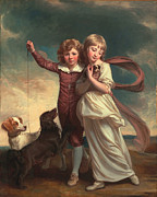 White Dogs Posters - Thomas John Clavering and Catherine Mary Clavering Poster by George Romney