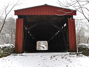 Snow . Bridge Posters - Thomas Mill Road Covered Bridge Poster by Bill Cannon
