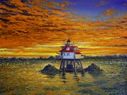 Eastern Point Paintings - Thomas Point at Dawn  by Gene Gregorio