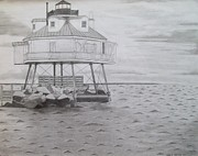 Maryland Drawings - Thomas Point Shoal Light by Jared Hester