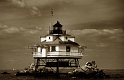 Famous Lighthouses Posters - Thomas Point Shoal Lighthouse Sepia Poster by Skip Willits