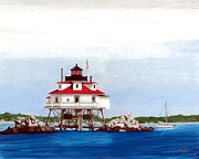 Lighthouse Drawings - Thomas Point Shoal Lighthouse by William Howard