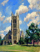 Pissarro Prints - Thompson Chapel Williams College Print by Thor Wickstrom
