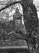 New Hampshire Drawings Posters - Thompson Hall at UNH Poster by Robert Goudreau
