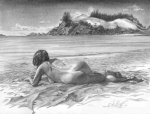 Erotica Drawings Posters - Thompson Point Poster by Olivier Duhamel