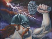 Thor Drawings - Thor God of Thunder by Dan Mills