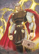 Thor Prints - Thor- God Of Thunder Print by Lee  Ah yen