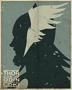 Mythology Digital Art Prints - Thor Print by Michael Myers