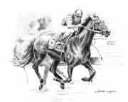Horses Drawings - Thoroughbred Best Pal by Arline Wagner