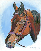English Bridle Art - Thoroughbred Knightline by Nancy Degan
