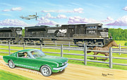 Mustang Aviation Art Paintings - Thoroughbreds by James Green