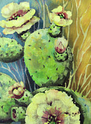 Acrylic Art Posters - Those Bloomin Cactus Poster by Cynara Shelton