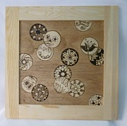 Asian Pyrography - Thought Bubbles of Inspiration Framed Pyrographic Art by Pigatopia by Shannon Ivins