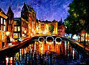Canal Painting Originals - Thoughtful Amsterdam by Leonid Afremov