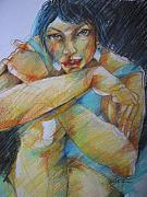 Bodyart Drawings Originals - Thoughtful by Brigitte Hintner