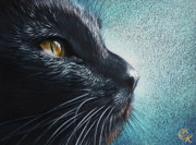 Black Cat Originals - Thoughtful Cat by Elena Kolotusha