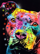 Dean Russo Art Mixed Media Posters - Thoughtful Pitbull i heart u Poster by Dean Russo