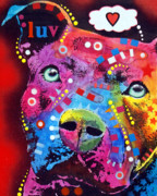 Dog Print Mixed Media Prints - Thoughtful Pitbull thinks LUV Print by Dean Russo