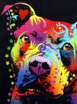 Artist Glass Posters - Thoughtful Pitbull Warrior Heart Poster by Dean Russo