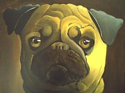 Chinese Pug Posters - Thoughtful Pug In Chiaroscuro Poster by Dan Haraga