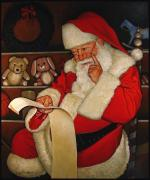 Wreaths Paintings - Thoughtful Santa by Doug Strickland