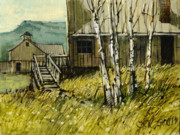 Old Buildings Paintings - Thoughts of Gilmore Idaho by Steve Spencer
