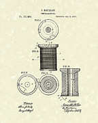 Bobbin Posters - Thread Spool 1877 Patent Art Poster by Prior Art Design