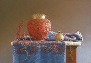 Marble Top Table Prints - Thread to the Past Print by Barbara Groff