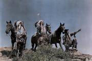 Mid Adult Posters - Three American Indians On The Crow Poster by Edwin L. Wisherd