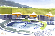 Motel Painting Prints - Three Amigos Poolside Print by Kip DeVore