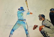 Baseball Painting Metal Prints - Three and Two Metal Print by Nigel Wynter