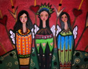 Three Angels Print by Pristine Cartera Turkus