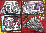 Angels Drawings - Three Angels by Robert Wolverton Jr
