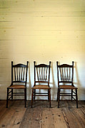 Interior Still Life Metal Prints - Three Antique Chairs Metal Print by Jill Battaglia
