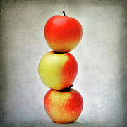 Food And Beverage Digital Art Prints - Three apples Print by Bernard Jaubert