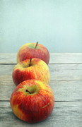 Fresh Food Digital Art Prints - Three Apples Print by Iris Lehnhardt