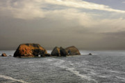 Cloudy Prints - Three Arch Rocks - Oceanside near Cape Meares - Oregon Print by Christine Till