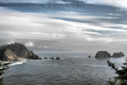 Foggy Prints - Three Arch Rocks National Wildlife Refuge near Cape Meares Oregon Print by Christine Till
