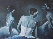 Ballerinas Prints - Three ballerinas after the performance Print by Brigitte Roshay