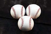 Baseball Photographs Framed Prints - Three Balls Framed Print by John Rizzuto