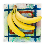 Vegetable Drawings Prints - Three Bananas Print by Igor Kislev