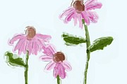 Coneflowers Prints - Three Beauties Print by Heidi Smith